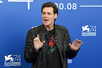 VENICE, ITALY - SEPTEMBER 5: Jim Carrey attends the photocall for Jim &amp; Andy: The Great Beyond -The Story Of Jim Carrey &amp; Andy Kaufman With A Very Special, Contractually Obligated Mention Of Tony Clifton during the 74th Venice Film Festival on September 5, 2017 in Venice, Italy.<br /> CAP/BEL<br /> &copy;BEL/Capital Pictures