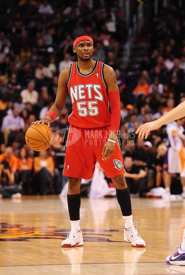Jan. 20, 2010; Phoenix, AZ, USA; New Jersey Nets guard (55) Keyon Dooling against the Phoenix Suns at the US Airways Center. The Suns defeated the Nets 118-94. Mandatory Credit: Mark J. Rebilas-