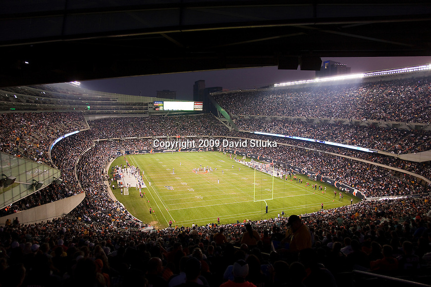 The Chicago Bears host the Cleveland Browns during an NFL preseason football game at Soldier Field in Chicago, Illinois on September 3, 2009. The Bears won the game 26-23. (AP Photo/David Stluka)