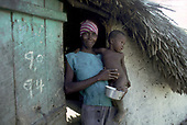 DOMINICAN REPUBLIC 1991<br /> A Haitian woman living on a batteye for migrant sugar plantation workers in Tamayo