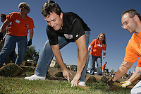 2 October 2007: Former Stanford football player John Lynch works on a field refurbishment project with volunteers from the Boys and Girls Club of Metro Denver. He was announced as one of eight finalists in the Home Depot NFL Neighborhood MVP program.