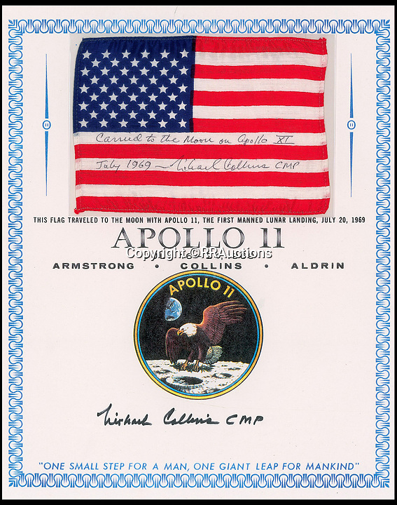 BNPS.co.uk (01202 558833)<br /> Pic : RRAuctions/BNPS<br /> <br /> Apollo XI flown US flag - £48,000.<br /> <br /> One small step-by-step for man...<br /> <br /> Fascinating step-by-step plan of the historic first moon landing reveals NASA's meticulous planning. <br /> <br /> A collection of rare artefacts from the Apollo 11 mission are being sold on the 50th anniversary of the historic moon landings.<br /> <br /> The sale also includes an American flag carried to the moon, Neil Armstrong's toy plane that first inspired him to fly, along with his Robbins medal and the visitors book from Airforce One with comments from the astronauts and their wives.<br /> <br /> The items are going under the hammer with US based RR Auctions who expect them to fetch over £127,000. ($160,000)