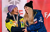 10th February 2019, Are, Sweden; Alpine skiing: Combination, ladies: downhill;  award ceremony: Ilka Stuhec (l) from Slovenia with the gold medal and Lindsey Vonn from the USA with the bronze medal laugh on the podium.