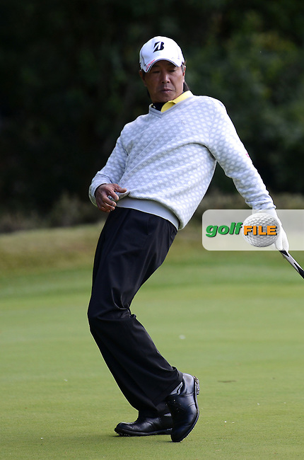 Kohdi Idoki of Japan reacts to a putt during the Second Round of The Senior Open at Sunningdale Golf Club, Sunningdale, England. Picture: Golffile | Richard Martin-Roberts<br /> All photo usage must carry mandatory copyright credit (&copy; Golffile | Richard Martin- Roberts)