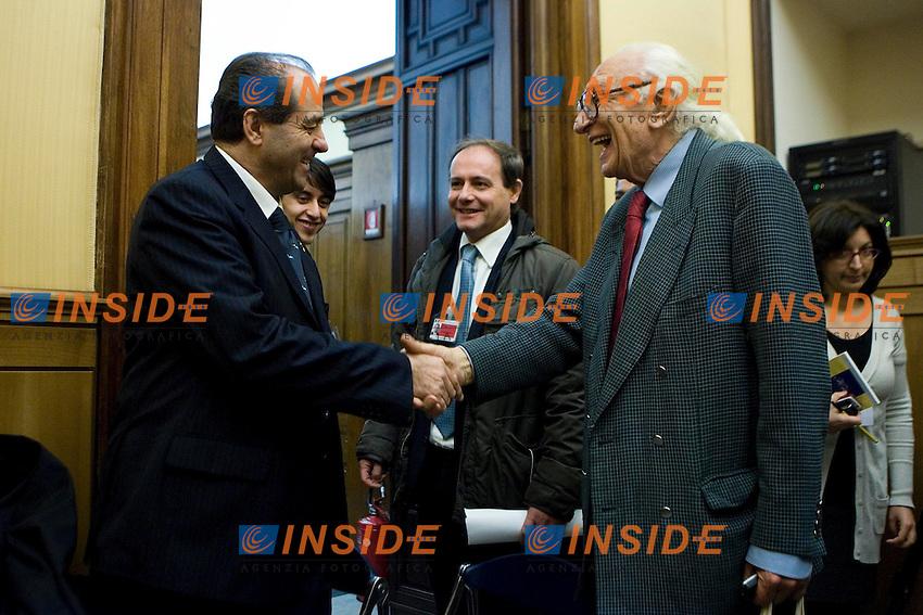 Antonio Di Pietro   e Marco Pannella..Camera dei Deputati Conferenza stampa dell'Italia dei Valori per presentare gli Emendamenti della Manovra Finanziaria ..Photo  Insidefoto..............................