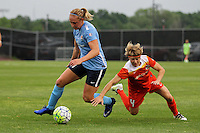 Piscataway, NJ - Saturday July 09, 2016: Leah Galton, Rebecca Moros during a regular season National Women's Soccer League (NWSL) match between Sky Blue FC and the Houston Dash at Yurcak Field.