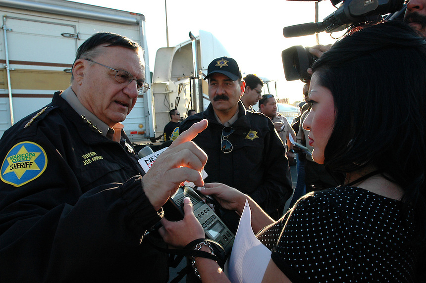 AJ Alexander/AJAimages 011808 - Sheriff Joe Arpaio in an interview with Sandra Haros at a Crime Suppression in Phoenix Arizona..Photo by AJ Alexander