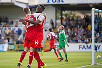 Devante Cole of Fleetwood Town celebrates scoring his side's first goal with Ashley Hunter during the Sky Bet League 1 match between Bristol Rovers and Fleetwood Town at the Memorial Stadium, Bristol, England on 26 August 2017. Photo by Mark  Hawkins.