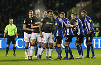 Bolton Wanderers'  prepare for an incoming corner kick to be taken<br /> <br /> Photographer Andrew Kearns/CameraSport<br /> <br /> The EFL Sky Bet Championship - Sheffield Wednesday v Bolton Wanderers - Tuesday 27th November 2018 - Hillsborough - Sheffield<br /> <br /> World Copyright &copy; 2018 CameraSport. All rights reserved. 43 Linden Ave. Countesthorpe. Leicester. England. LE8 5PG - Tel: +44 (0) 116 277 4147 - admin@camerasport.com - www.camerasport.com