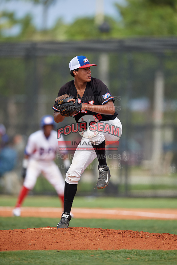 Jose Soto (19) during the Dominican Prospect League Elite Florida Event at Pompano Beach Baseball Park on October 15, 2019 in Pompano beach, Florida.  (Mike Janes/Four Seam Images)