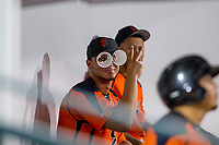 Angeddy Almanzar (21) of the AZL Giants goofs around during a game against the AZL Cubs on September 6, 2017 at Sloan Park in Mesa, Arizona. AZL Giants defeated the AZL Cubs 6-5 to even up the Arizona League Championship Series at one game a piece. (Zachary Lucy/Four Seam Images)