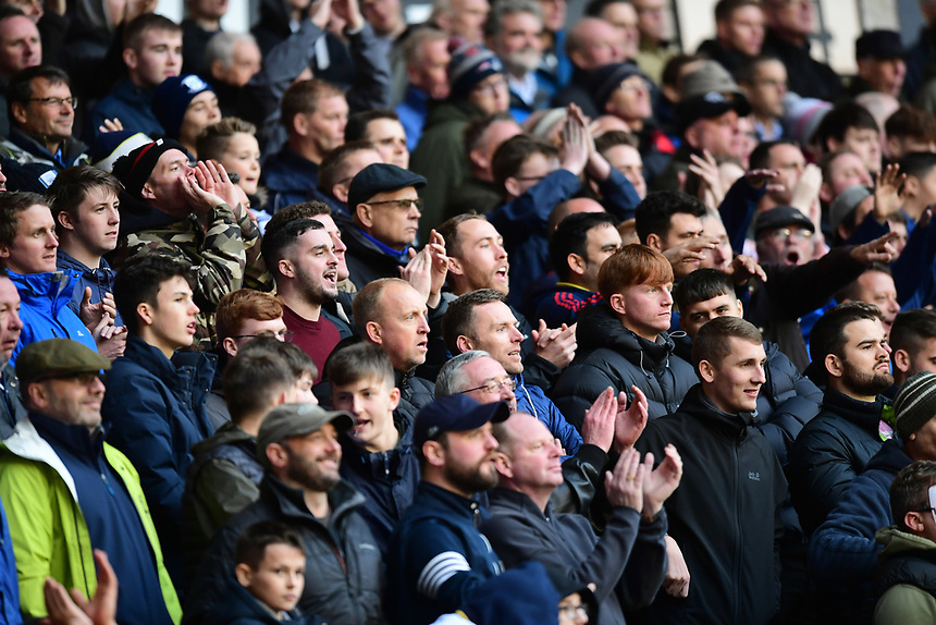 Preston North End fans watch their team in action <br /> <br /> Photographer Chris Vaughan/CameraSport<br /> <br /> The EFL Sky Bet Championship - Wolverhampton Wanderers v Preston North End - Saturday 21st October 2017 - Molineux - Wolverhampton<br /> <br /> World Copyright &copy; 2017 CameraSport. All rights reserved. 43 Linden Ave. Countesthorpe. Leicester. England. LE8 5PG - Tel: +44 (0) 116 277 4147 - admin@camerasport.com - www.camerasport.com