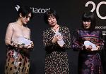 "November 24, 2017, Tokyo, Japan - (L-R) Japanese artist Kom I, Naoki award author Riku Onda, comedian Buruzon Chiemi pose for photo as they receive ""Vogue Japan Women of the Year 2017"" award in Tokyo on Friday, November 24, 2017.      (Photo by Yoshio Tsunoda/AFLO) LWX -ytd-"