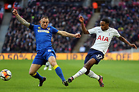 Barry Fuller of AFC Wimbledon and Kyle Walker-Peters of Tottenham during Tottenham Hotspur vs AFC Wimbledon, Emirates FA Cup Football at Wembley Stadium on 7th January 2018