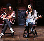 Sasha Hollinger and Lauren Boyd during their #EduHam Q & Aon January 31, 2018 at the Richard Rodgers Theatre in New York City.