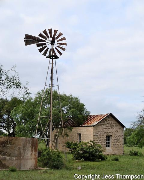 Windmill and old building near Fredericksburg, TX