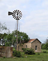 Windmill and old building near Fredericksburg, TX