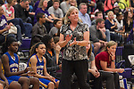 Pflugerville coach Nancy Walling coaches her players against Cedar Ridge Friday.  The Panthers beat the Raiders 70-66 at Cedar Ridge.  (LOURDES M SHOAF for Round Rock Leader.)