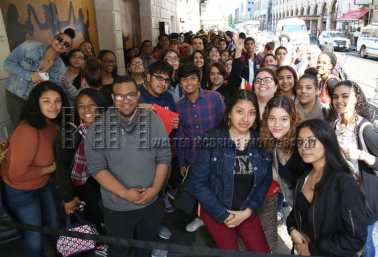 """High School Students before The Rockefeller Foundation and The Gilder Lehrman Institute of American History sponsored High School student #eduHam matinee performance of """"Hamilton"""" at the Richard Rodgers Theatre on May 9, 2018 in New York City."""