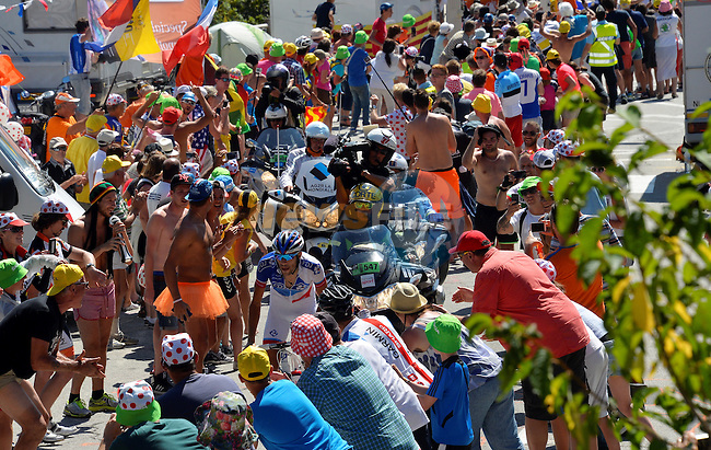 Thibaut PINOT (FRA) FDJ climbs Alpe d'Huez during Stage 20 of the 2015 Tour de France running 110.5km from Modane Valfrejus to Alpe d'Huez, France. 25th July 2015.<br /> Photo: ASO/B.Bade/Newsfile