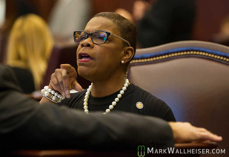 Sen. Audrey Gibson, D-Jacksonville, talks with Sen. Aaron Bean, R- Jacksonville, during Senate debate at the Florida Capitol in Tallahassee, Florida.