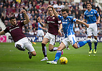 Hearts v St Johnstone...02.08.15   SPFL Tynecastle, Edinburgh<br /> Callum Paterson jumps in to block Simon Lappin's shot<br /> Picture by Graeme Hart.<br /> Copyright Perthshire Picture Agency<br /> Tel: 01738 623350  Mobile: 07990 594431