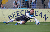 Goalkeeper Matt Ingram of Wycombe Wanderers warms up during the Sky Bet League 2 match between Wycombe Wanderers and York City at Adams Park, High Wycombe, England on 8 August 2015. Photo by Andy Rowland.