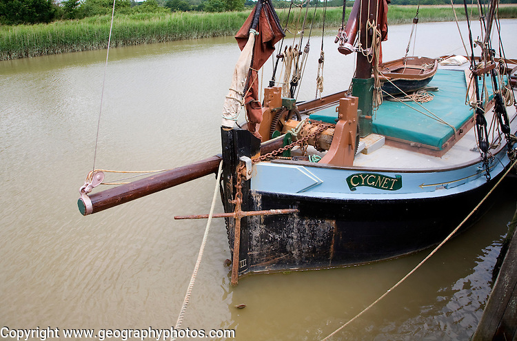 Historic sailing barge Cygnet on the River Alde at Snape, Suffolk, England