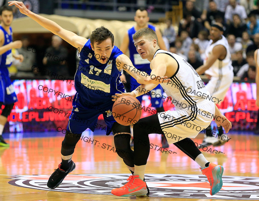 Kosarka ABA League season 2014-2015<br /> Partizan v Zadar<br /> Marko Ramljak (L) and Edo Muric<br /> Beograd, 15.03.2015.<br /> foto: Srdjan Stevanovic/Starsportphoto&copy;
