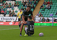 Northampton Saints's Tom Collins celebrates scoring his side's first trywith team-mate Lewis Ludlam<br /> <br /> Photographer Stephen White/CameraSport<br /> <br /> European Rugby Challenge Cup - Northampton Saints v Clermont Auvergne - Saturday 13th October 2018 - Franklin's Gardens - Northampton<br /> <br /> World Copyright © 2018 CameraSport. All rights reserved. 43 Linden Ave. Countesthorpe. Leicester. England. LE8 5PG - Tel: +44 (0) 116 277 4147 - admin@camerasport.com - www.camerasport.com