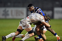 Levi Davis of Bath United takes on the Gloucester United defence. Premiership Rugby Shield match, between Bath United and Gloucester United on April 8, 2019 at the Recreation Ground in Bath, England. Photo by: Patrick Khachfe / Onside Images