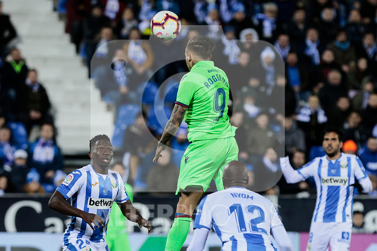 CD Leganes's Allan Romeo Nyom and Levante UD's Roger Marti during La Liga match between CD Leganes and Levante UD at Butarque Stadium in Leganes, Spain. March 04, 2019. (ALTERPHOTOS/A. Perez Meca)