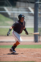 San Francisco Giants Black right fielder Diego Rincones (49) starts down the first base line during an Extended Spring Training game against the Los Angeles Angels at the San Francisco Giants Training Complex on May 25, 2018 in Scottsdale, Arizona. (Zachary Lucy/Four Seam Images)