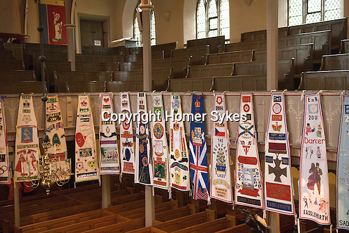 Uppermill, Saddleworth Yorkshire. Rushcart banner hang in St Chads church.