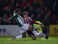 Lincoln City's Harry Toffolo battles with Yeovil Town's Rhys Browne<br /> <br /> Photographer Andrew Vaughan/CameraSport<br /> <br /> The EFL Sky Bet League Two - Lincoln City v Yeovil Town - Friday 8th March 2019 - Sincil Bank - Lincoln<br /> <br /> World Copyright © 2019 CameraSport. All rights reserved. 43 Linden Ave. Countesthorpe. Leicester. England. LE8 5PG - Tel: +44 (0) 116 277 4147 - admin@camerasport.com - www.camerasport.com