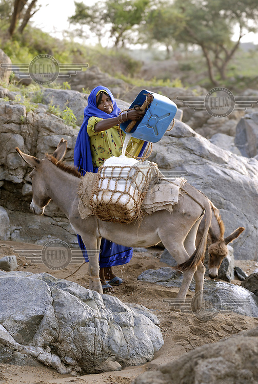 A woman uses a donkey with a plastic canister strapped on its back to collect water and take it back to her village.