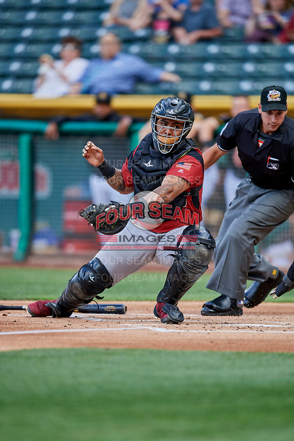 Hector Sanchez (29) of the Sacramento River Cats on defense against the Salt Lake Bees at Smith's Ballpark on May 17, 2018 in Salt Lake City, Utah. Salt Lake defeated Sacramento 12-11. (Stephen Smith/Four Seam Images)