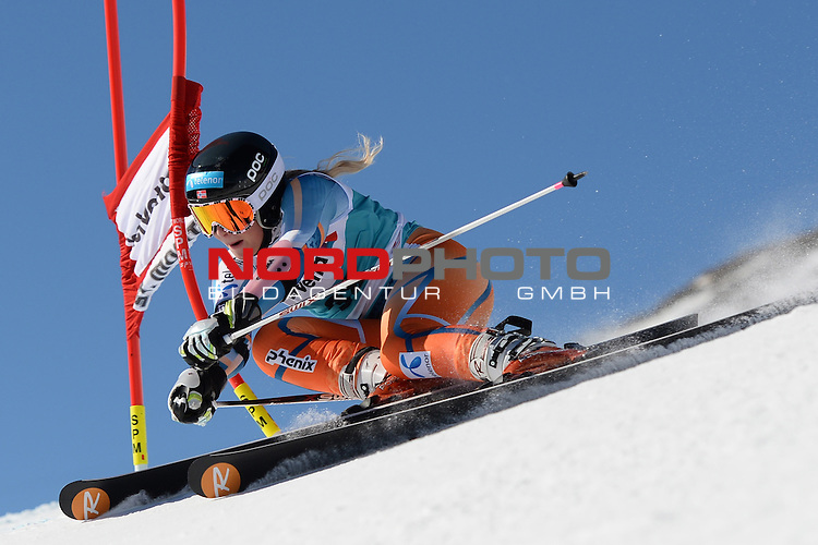 ST MORITZ, SWITZERLAND - DECEMBER 15: Ragnhild Mowinckel speeds down the course during the Audi FIS Alpine Ski World Cup giant slalom race on December 15 2013 in St Moritz, Switzerland. <br /> Foto nph / Gunn