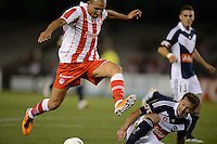 MELBOURNE, AUSTRALIA - MAY 19: Rafik Djebbour of Olympiakos controls the ball during a match between Melbourne Victory and Olympiakos FC at Etihad Stadium on 19 May 2012 in Melbourne, Australia. (Photo Sydney Low / AsteriskImages.com)