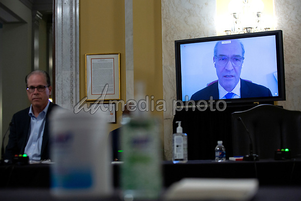 Mark Mulligan, MD, of New York University's Grossman School of Medicine, speaks via video call during a United States Senate Aging Committee hearing at the United States Capitol in Washington D.C., U.S. on Thursday, May 21, 2020.  Credit: Stefani Reynolds / CNP/AdMedia