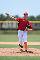 GCL Nationals relief pitcher Weston Davis (56) delivers a warmup pitch during a game against the GCL Marlins on June 28, 2014 at the Carl Barger Training Complex in Viera, Florida.  GCL Nationals defeated the GCL Marlins 5-0.  (Mike Janes/Four Seam Images)