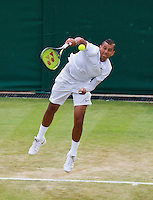 England, London, Juli 06, 2015, Tennis, Wimbledon, Nick Kirgios (AUS) serves<br /> Photo: Tennisimages/Henk Koster