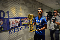 San Jose, CA - Monday July 10, 2017: Chris Wondolowski, NBA Trophy prior to a U.S. Open Cup quarterfinal match between the San Jose Earthquakes and the Los Angeles Galaxy at Avaya Stadium.