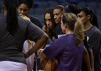 Jun. 10, 2013; Phoenix, AZ, USA: Phoenix Mercury center Brittney Griner (center) in the huddle with teammates during a team practice at the US Airways Center. Mandatory Credit: Mark J. Rebilas-