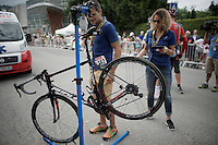 UCI bike weight check at the finish<br /> <br /> Stage 18 (ITT) - Sallanches › Megève (17km)<br /> 103rd Tour de France 2016