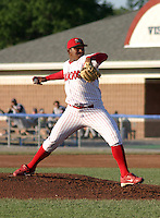 July 25, 2003:  Pitcher Jean Machi of the Batavia Muckdogs, Class-A affiliate of the Philadelphia Phillies, during a NY-Penn League game at Dwyer Stadium in Batavia, NY.  Photo by:  Mike Janes/Four Seam Images