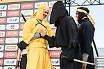 Chris Froome and Greg Van Avermaet dressed as a ninja warriors on stage before the Tour de France Saitama Crit&eacute;rium 2017 held around the streets os Saitama, Japan. 3rd November 2017.<br /> Picture: ASO/Pauline Ballet | Cyclefile<br /> <br /> <br /> All photos usage must carry mandatory copyright credit (&copy; Cyclefile | ASO/Pauline Ballet)