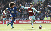 Burnley's Johann Gudmundsson under pressure from Leicester City's Hamza Choudhury<br /> <br /> Photographer Rich Linley/CameraSport<br /> <br /> The Premier League - Burnley v Leicester City - Saturday 14th April 2018 - Turf Moor - Burnley<br /> <br /> World Copyright &copy; 2018 CameraSport. All rights reserved. 43 Linden Ave. Countesthorpe. Leicester. England. LE8 5PG - Tel: +44 (0) 116 277 4147 - admin@camerasport.com - www.camerasport.com