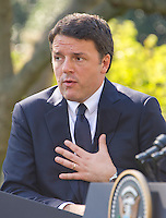 Prime Minister Matteo Renzi of Italy holds a joint press conference with United States President Barack Obama in the Rose Garden of the the White House in Washington, DC on Tuesday, October 18, 2016. <br /> Credit: Ron Sachs / CNP /MediaPunch