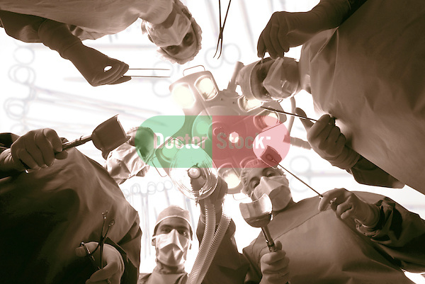 dramatic worms-eye-view from patient's perspective of surgical team gathered around operating table, brown duotone